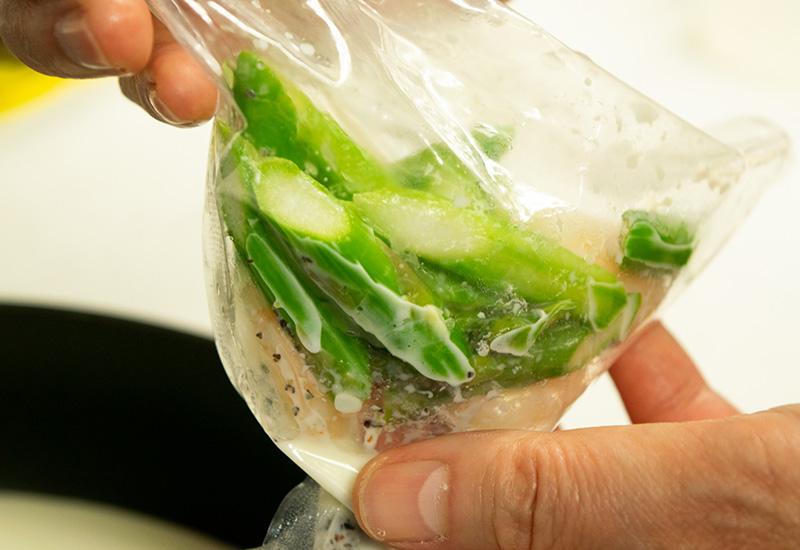 アスパラと海老のあっさりクリームパスタソース