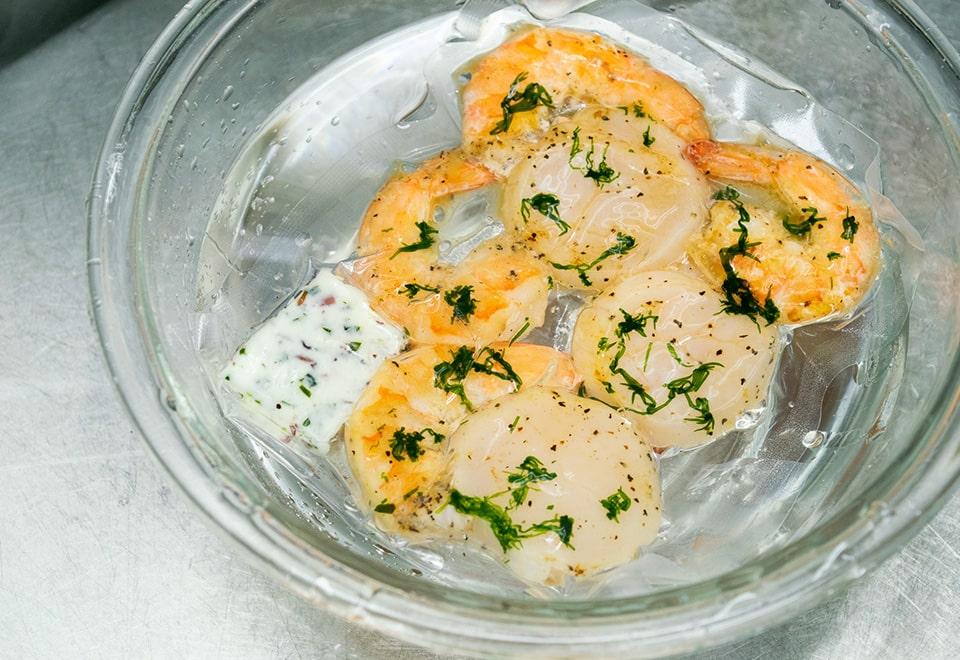 活帆立と海老 海藻バターグリル